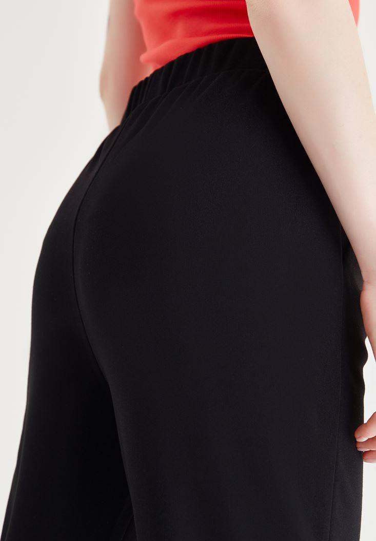 Bayan Siyah Belden Lastikli Bol Pantolon