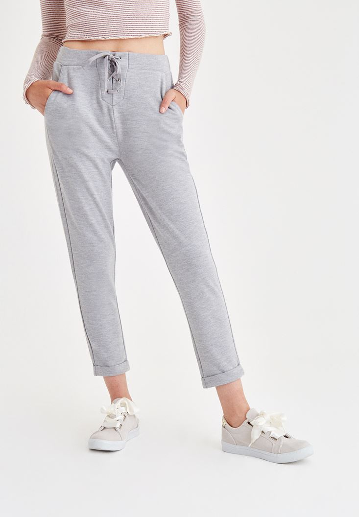 Grey Pants With Laced Detailed