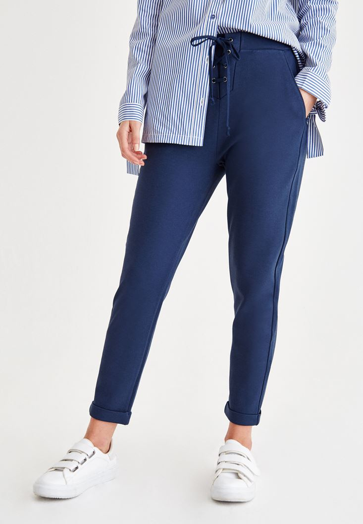 Lacivert İp Detaylı Pantolon
