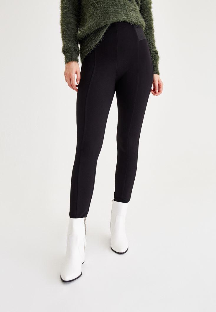 Bayan Siyah Beli Lastik Detaylı Tayt Pantolon