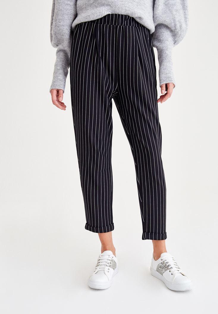 Çok Renkli Çizgili Havuç Kesim Pantolon