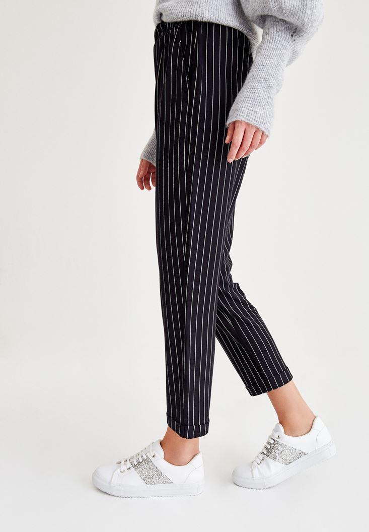 Bayan Çok Renkli Çizgili Havuç Kesim Pantolon