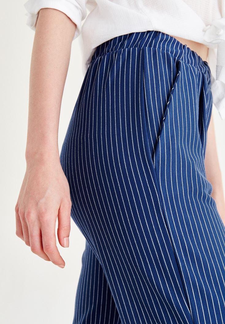 Bayan Çok Renkli Kısa Paça Çizgili Pantolon