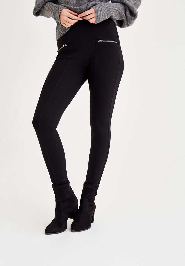 Black Jeggings with Zip Pockets