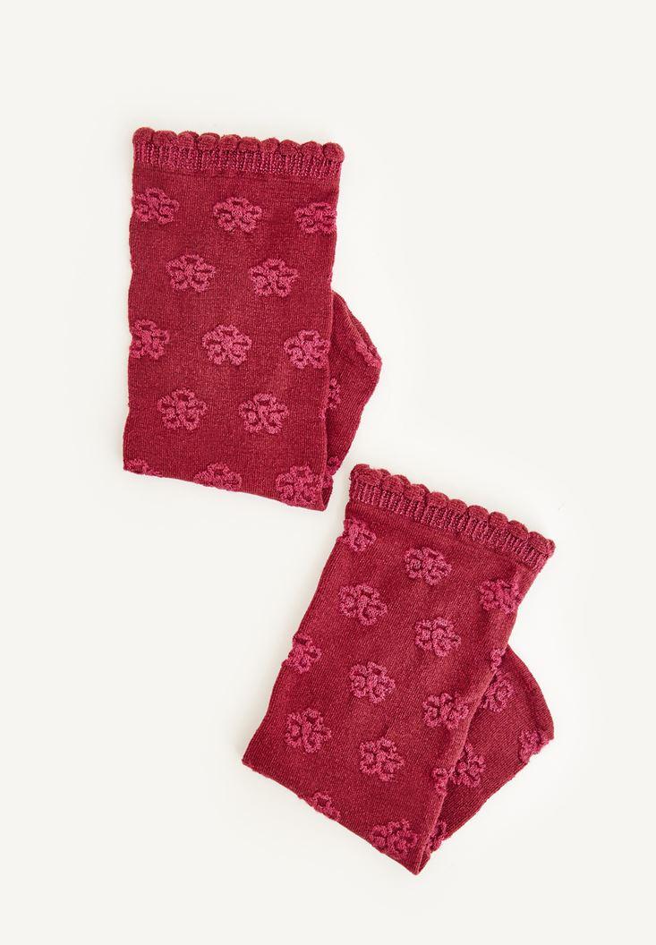 Bordo Çiçek Desenli Bilek Detaylı Çorap