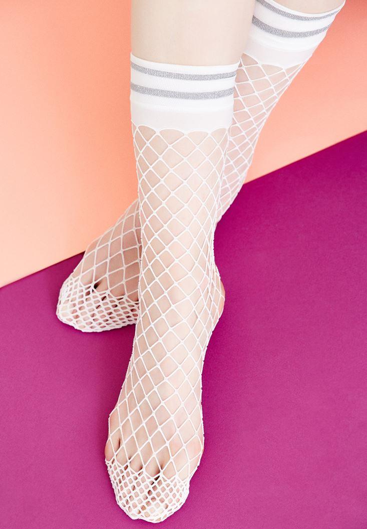 Bayan Beyaz Şeritli File Çorap