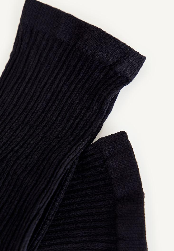 Siyah Uzun Dokulu Çorap