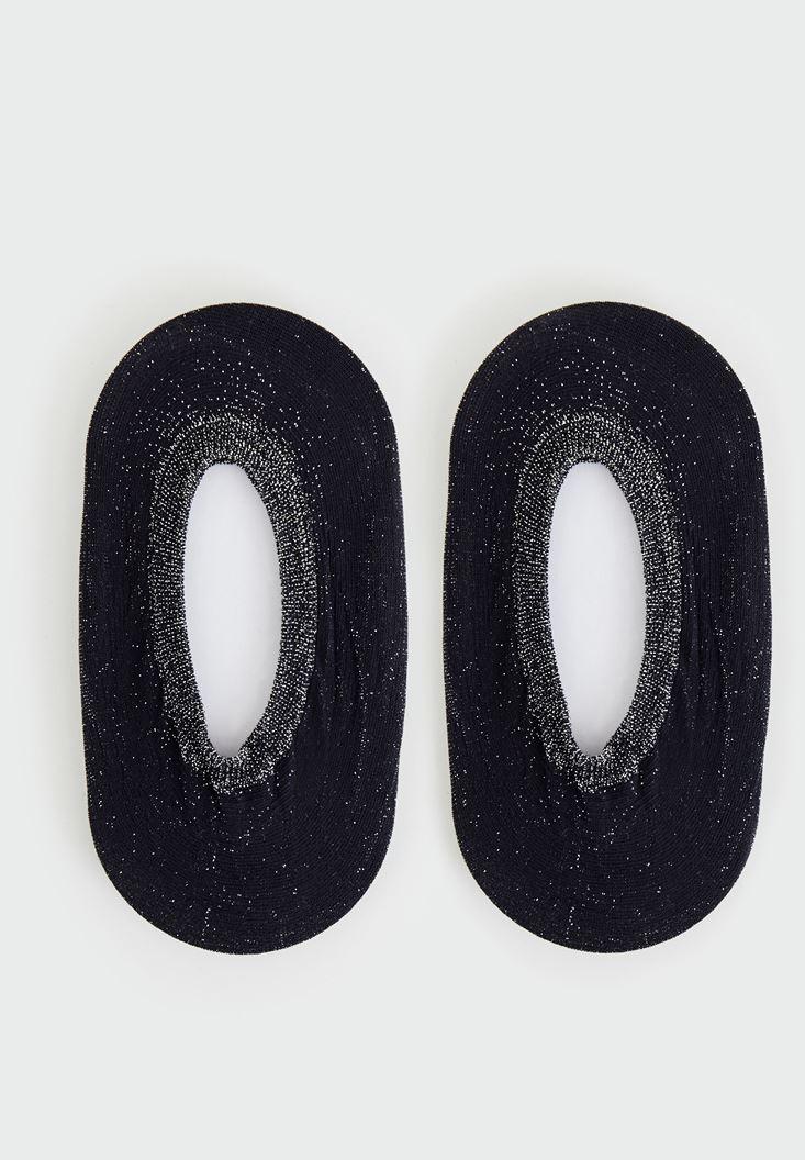 Bayan Siyah Simli Babet Çorap
