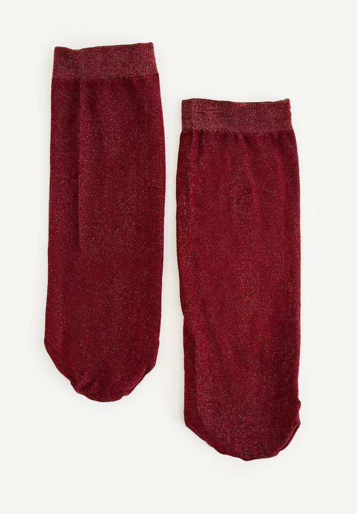 Bayan Bordo Sim Detaylı Çorap