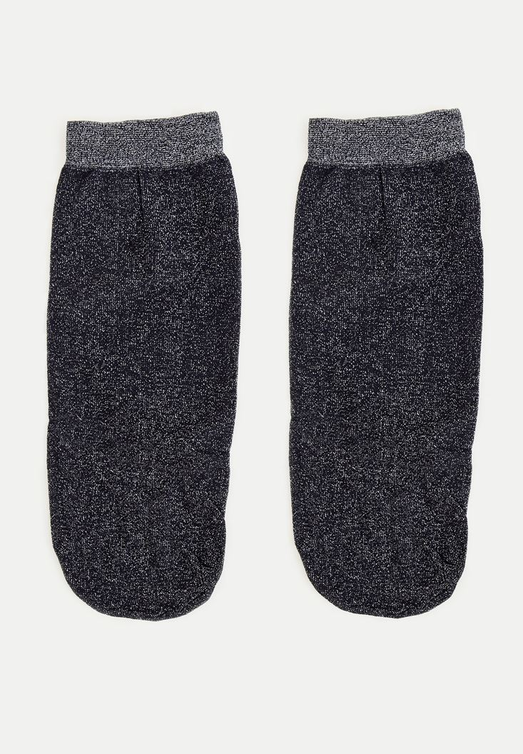 Bayan Gri Sim Detaylı Çorap