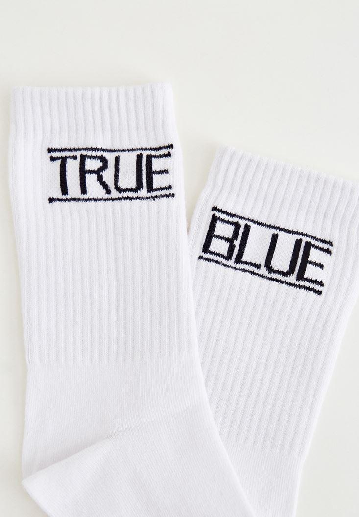 Beyaz True Blue Yazılı Çorap