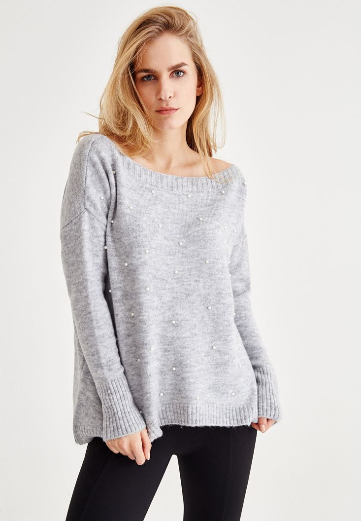 Grey Long Sleeve Pullover With Pearl Detail