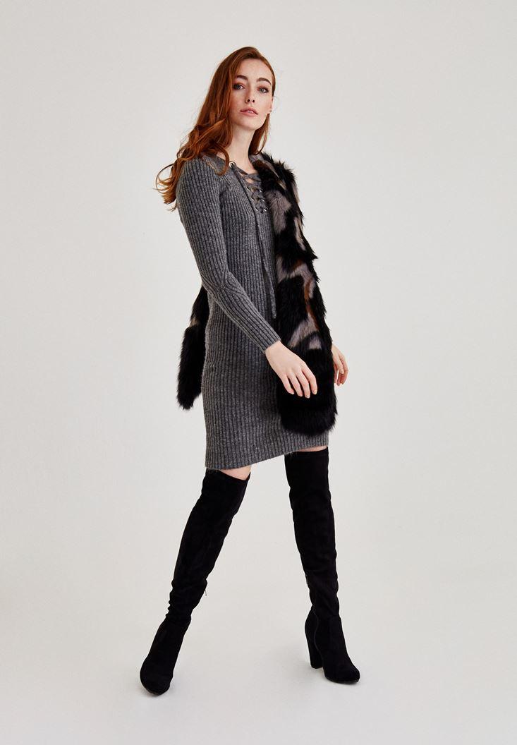 Bayan Gri Kuş Gözü Detaylı Mini Elbise