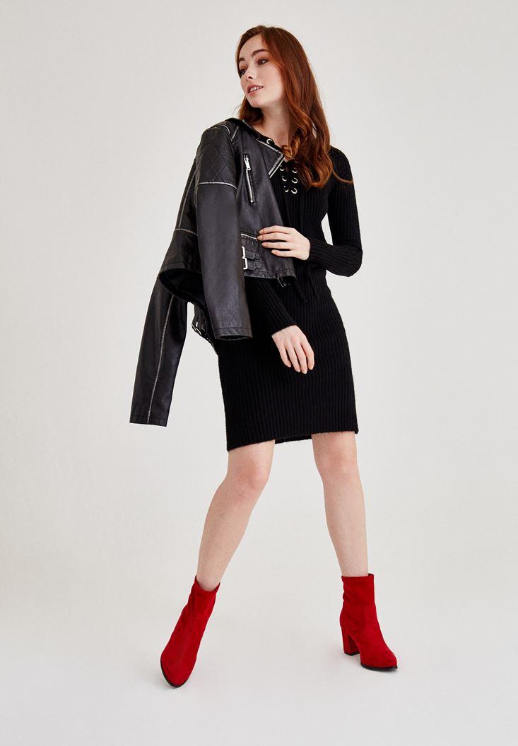 Siyah Kuş Gözü Detaylı Mini Elbise