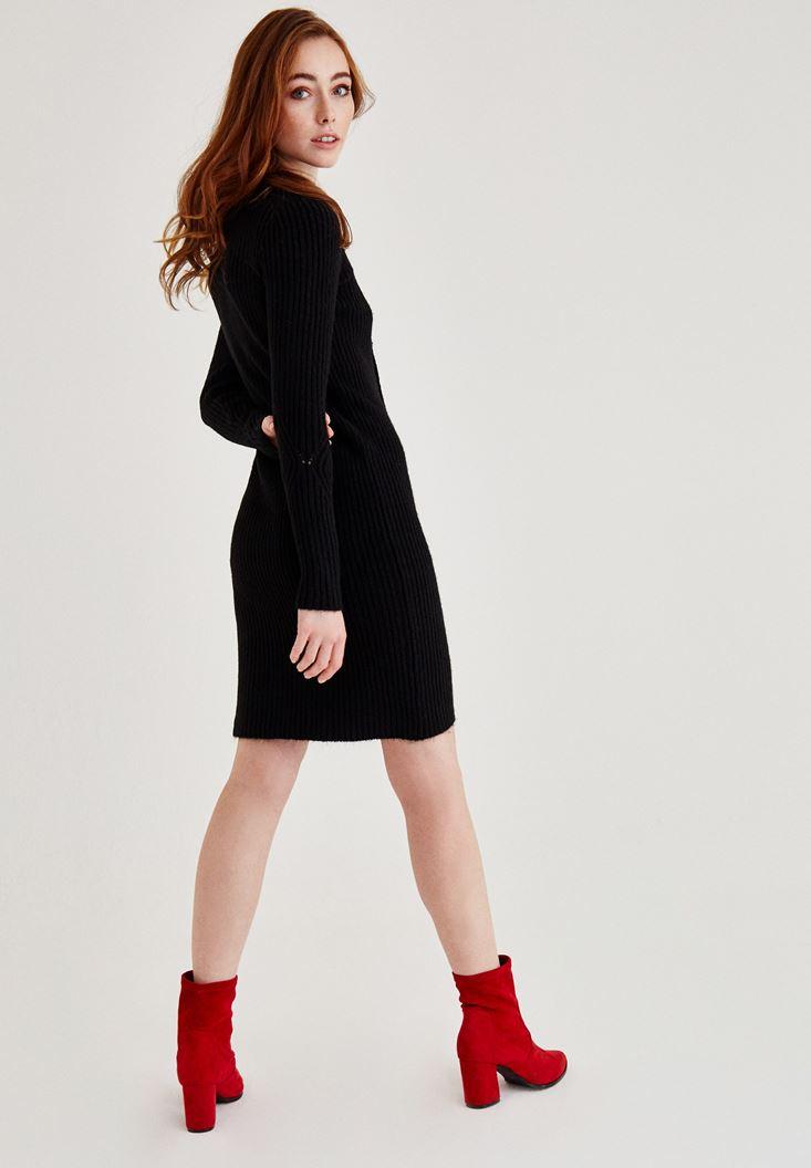 Bayan Siyah Kuş Gözü Detaylı Mini Elbise