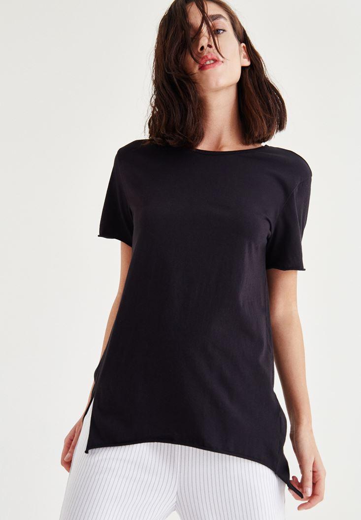Bayan Siyah Uzun Tişört