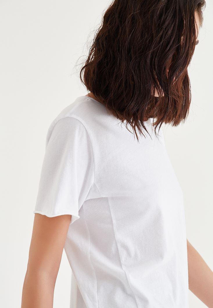 Bayan Beyaz Uzun Tişört
