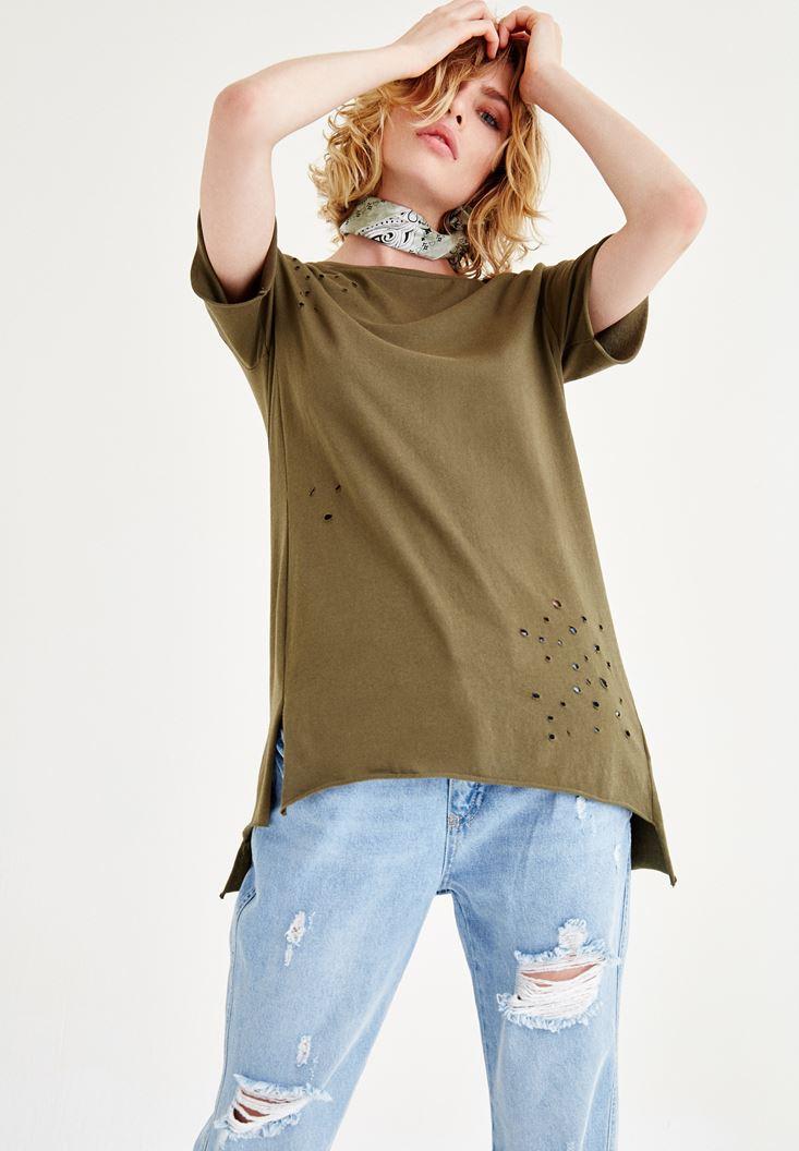 Yeşil Yırtık Detaylı Tişört