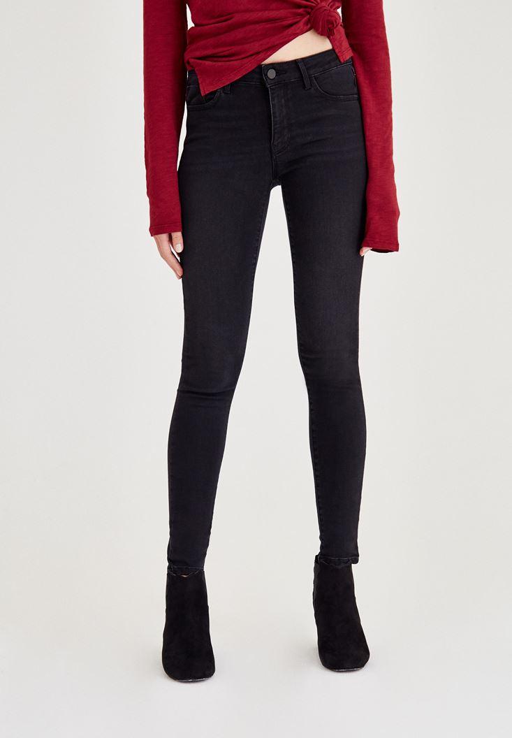 Siyah Normal Bel Paça Detaylı Denim Pantolon
