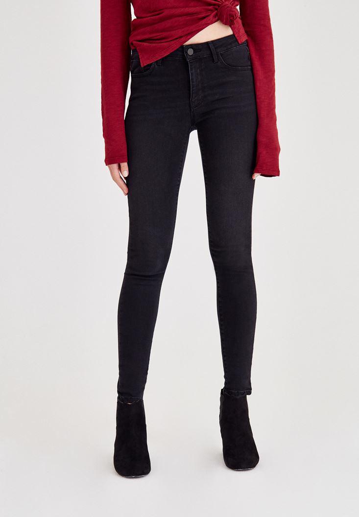 Bayan Siyah Normal Bel Paça Detaylı Denim Pantolon