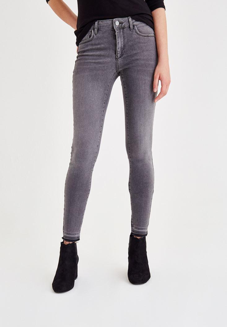 Gri Normal Bel Paça Detaylı Denim Pantolon