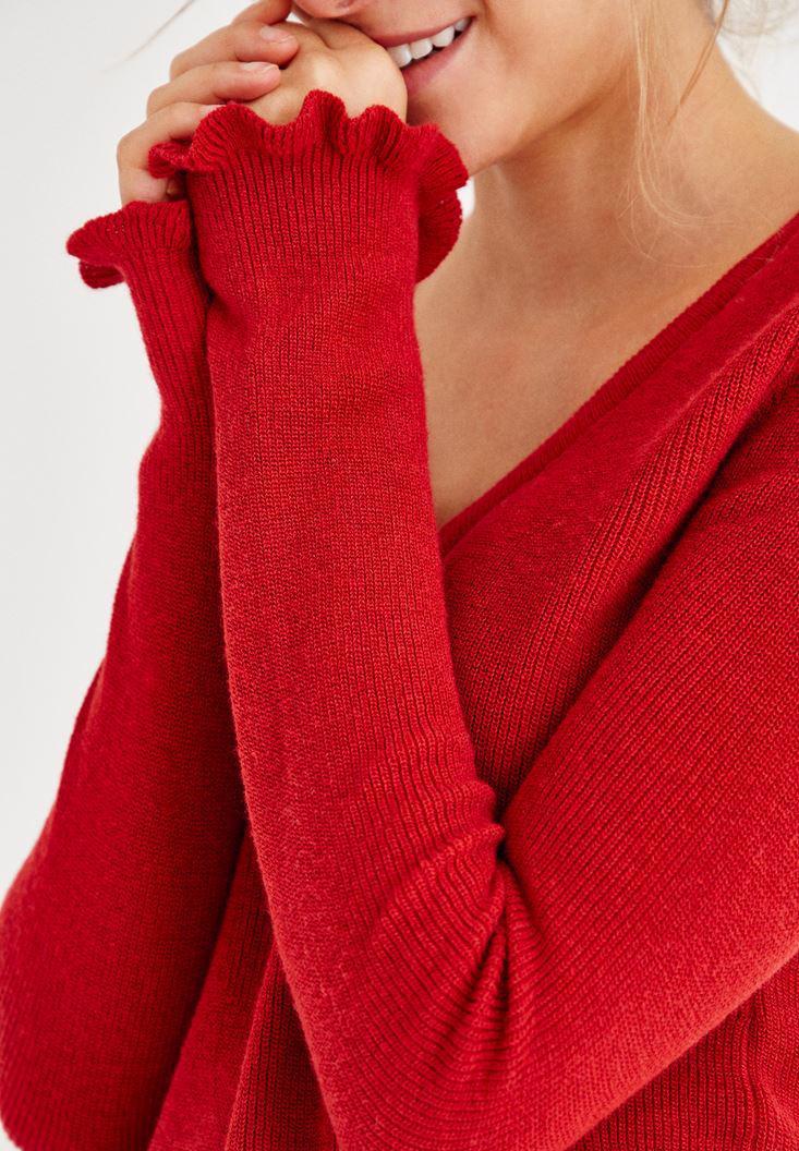 Bayan Kırmızı Kolları Fırfır Detaylı Triko