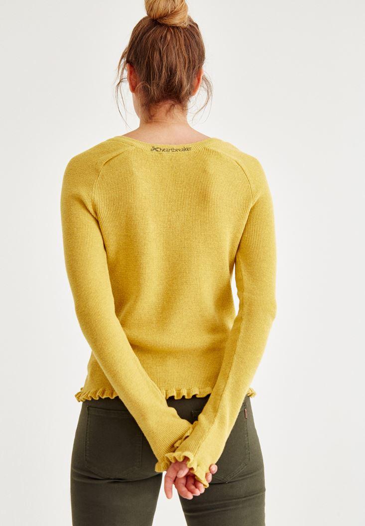 Bayan Sarı Kolları Fırfır Detaylı Triko