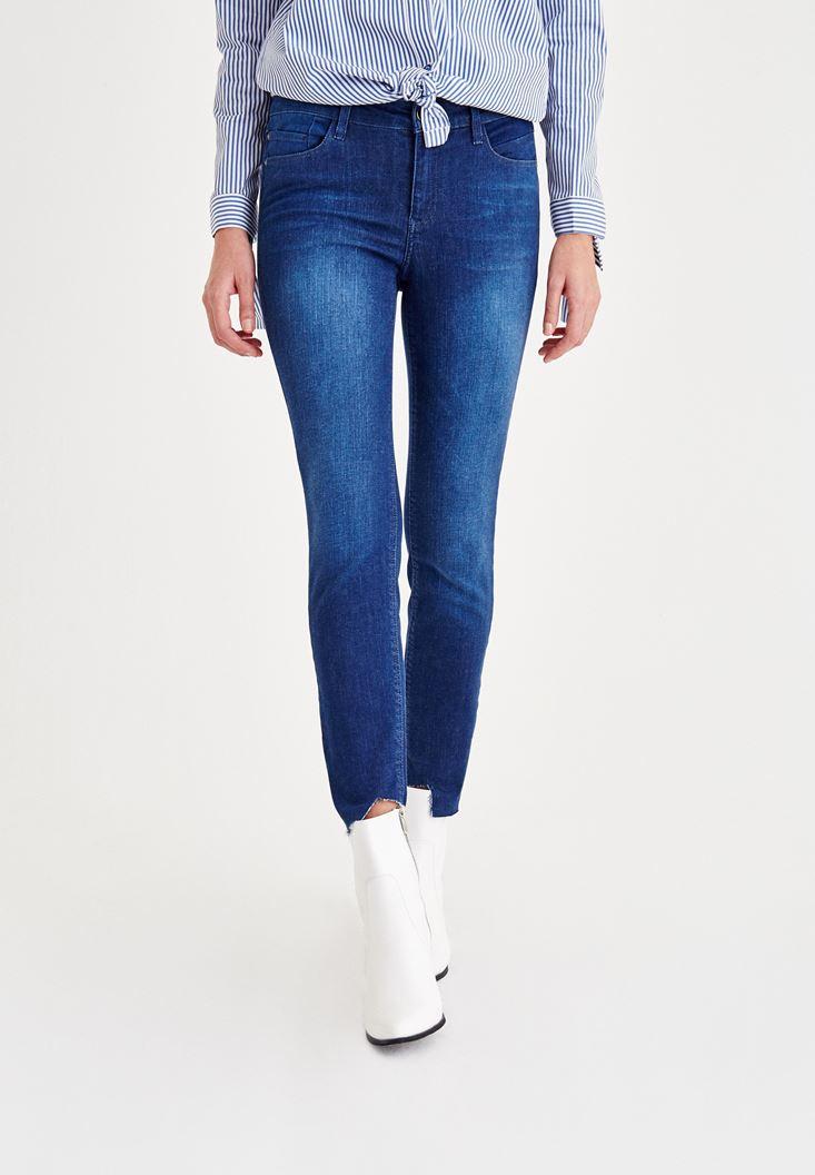 Mavi Normal Bel Yüksekliği Denim Pantolon