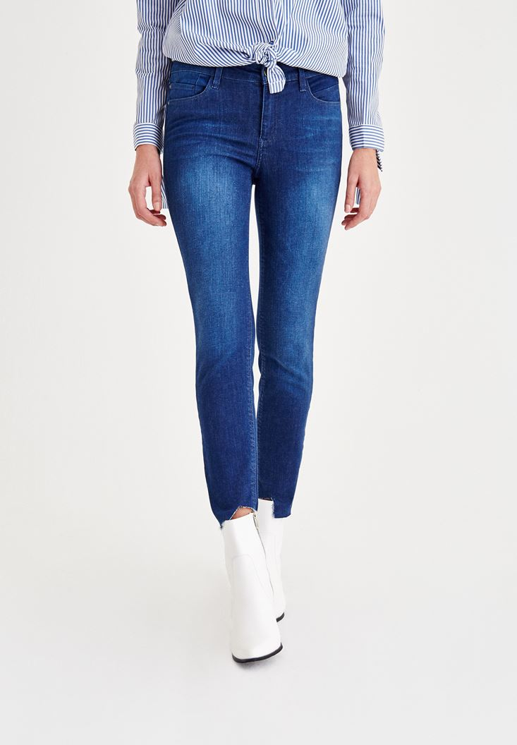 Blue Mid Rise Jeans