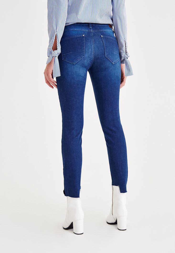 Bayan Mavi Normal Bel Yüksekliği Denim Pantolon