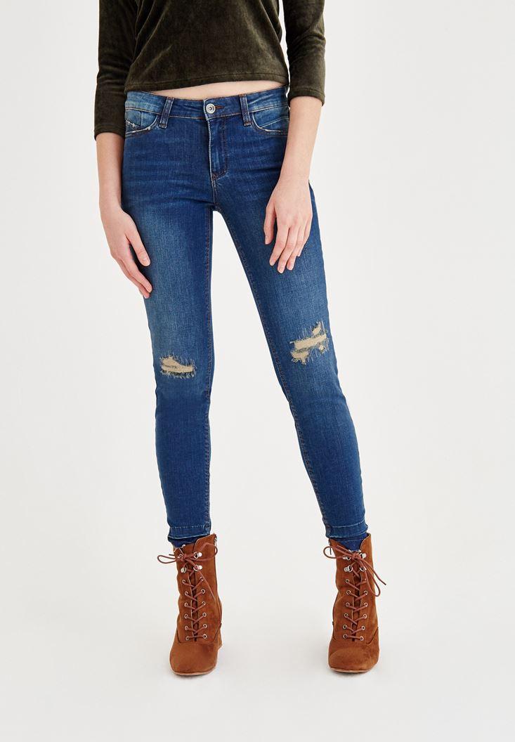Lacivert Orta Bel Dar Paça Yırtık Detaylı Denim Pantolon