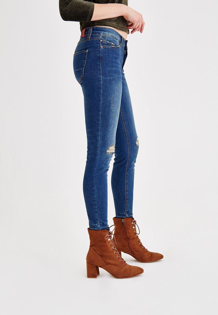 Women Navy Mid Rise Destroyed Jeans