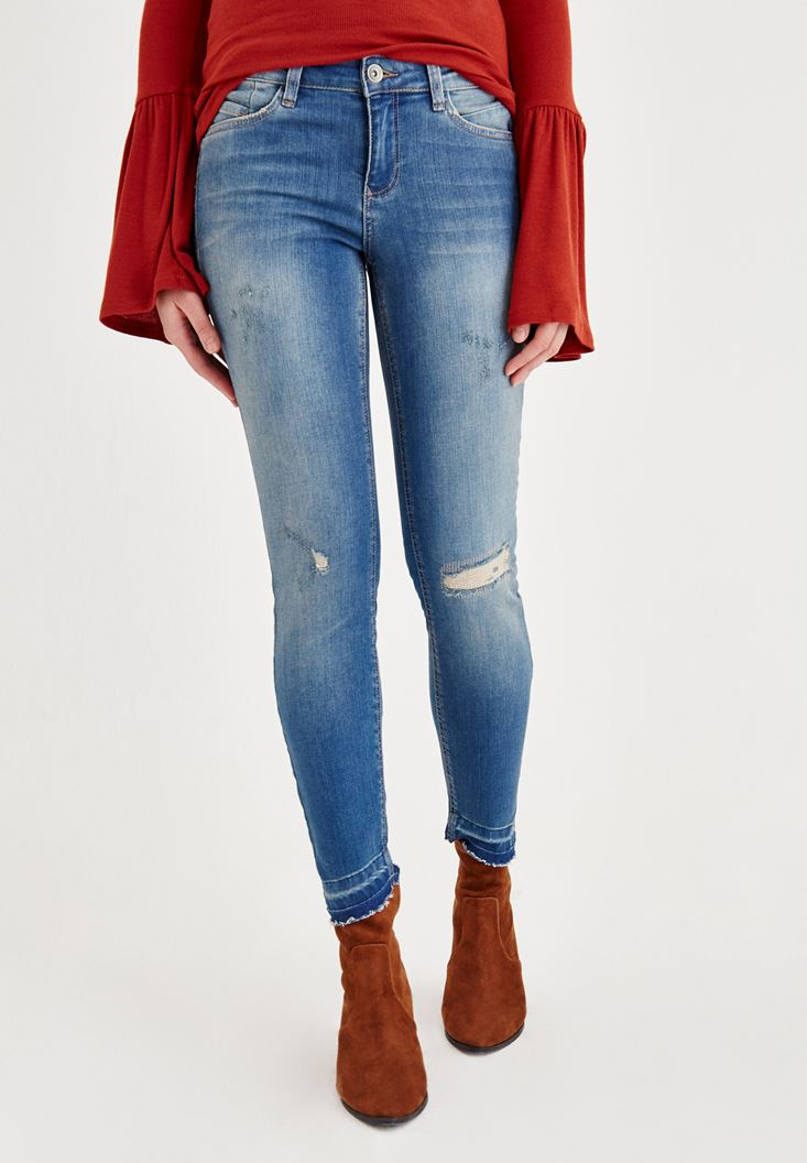 Blue Mid Rise Destroyed Jeans