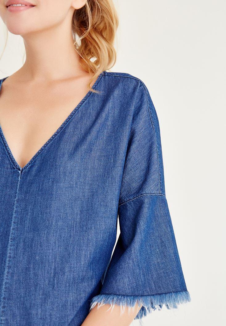 Bayan Mavi Püskül Detaylı Denim Bluz