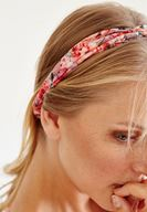 Bayan Turuncu Çiçek Desenli Saç Bandı