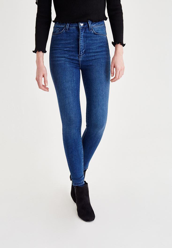 Mavi Asimetrik Paça Detaylı Yüksek Bel Jean