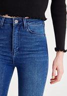 Bayan Mavi Asimetrik Paça Detaylı Yüksek Bel Jean