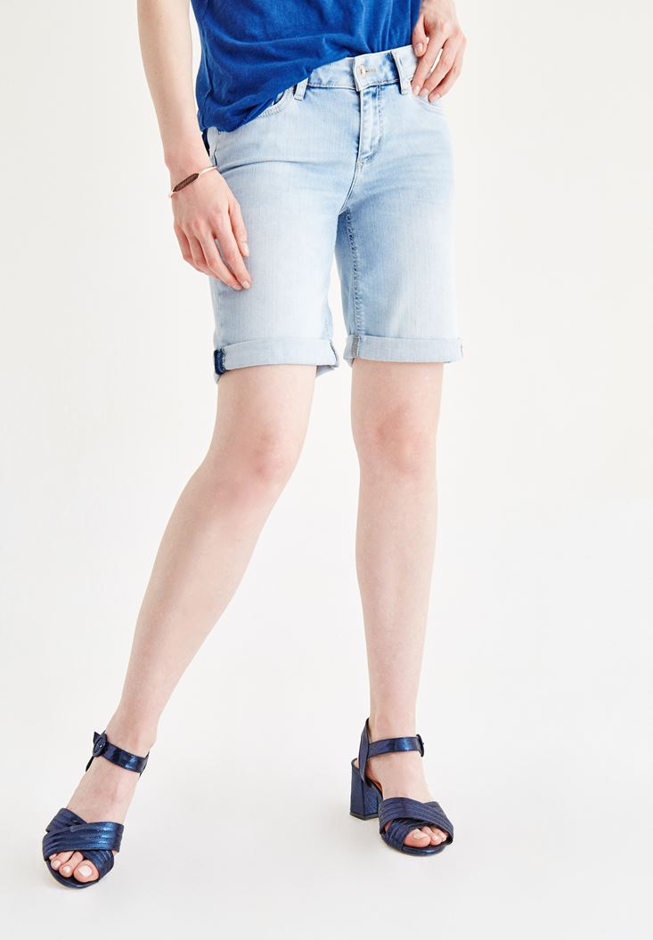 Blue Midi Denim Short