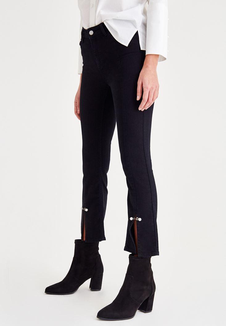 Bayan Siyah Paça Detaylı İncili Pantolon