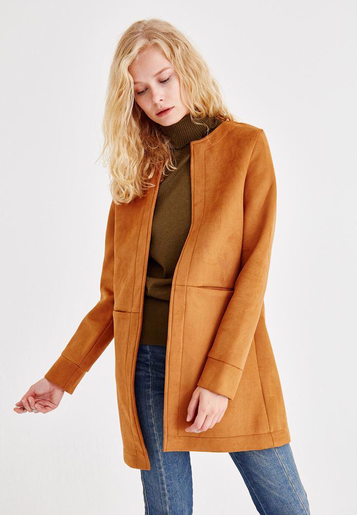 Bayan Turuncu Dikiş Detaylı Ceket