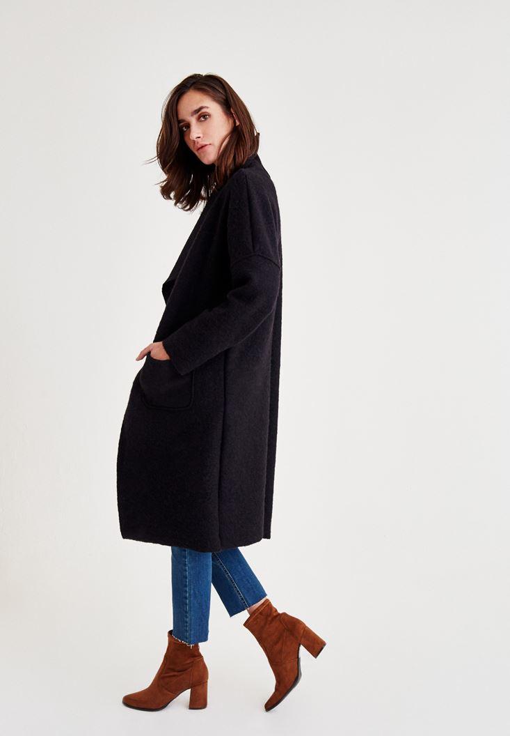 Bayan Siyah Uzun Cepli Yün Hırka