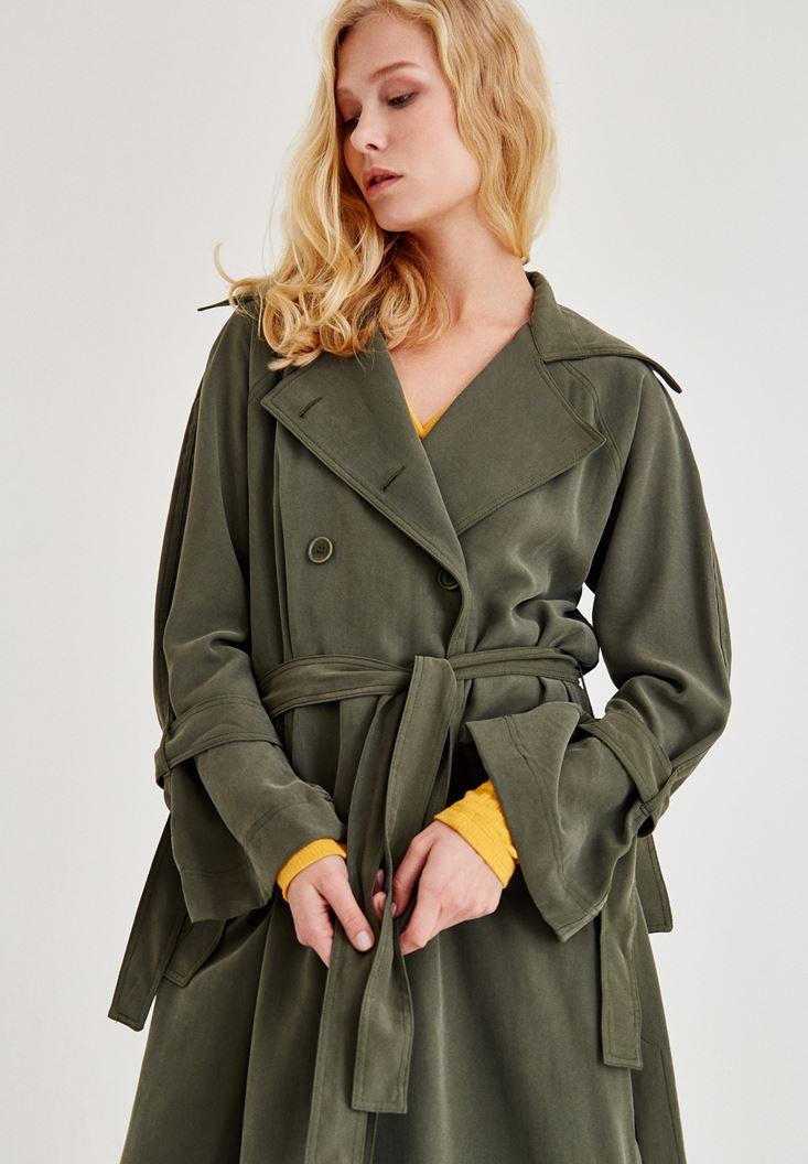 Bayan Yeşil Kol Detaylı Trençkot