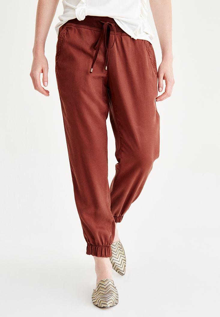 Kahverengi Beli Lastikli Bağcıklı Havuç Pantolon