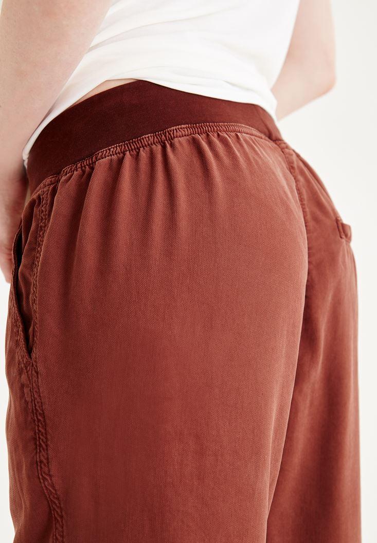 Bayan Kahverengi Beli Lastikli Bağcıklı Havuç Pantolon