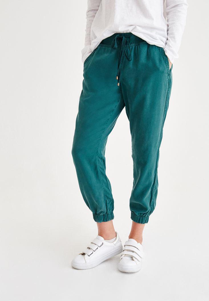 Yeşil Beli Lastikli Bağcıklı Havuç Pantolon
