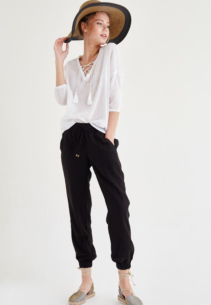 Siyah Beli Lastikli Bağcıklı Havuç Pantolon