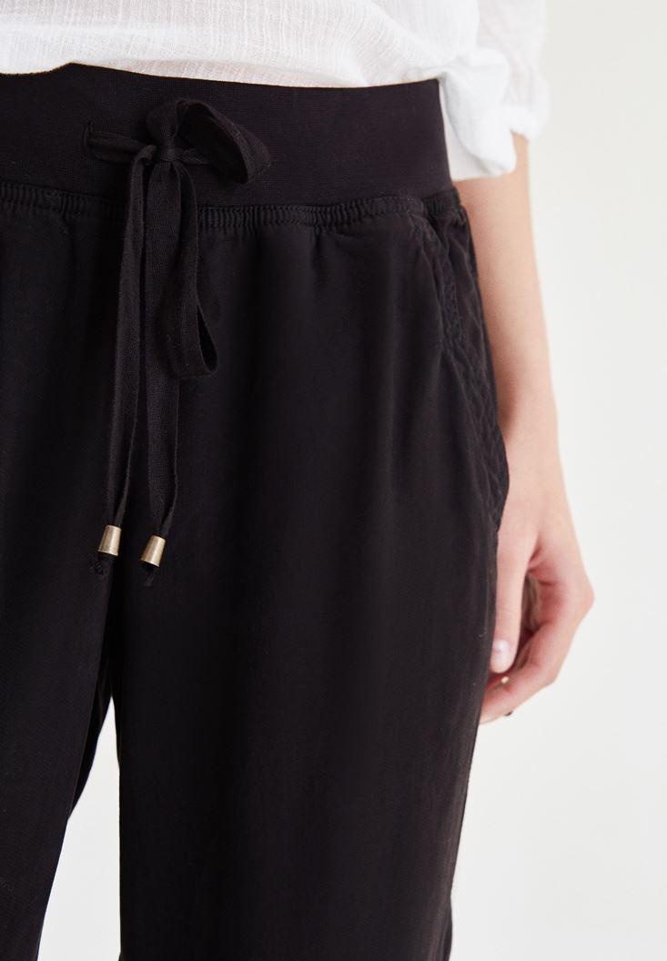 Bayan Siyah Beli Lastikli Bağcıklı Havuç Pantolon
