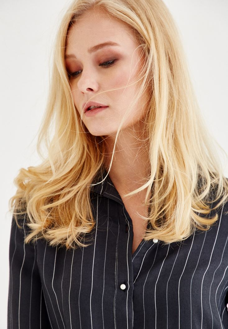 Black Striped Shirt With Pearl Buttons