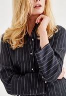 Women Mixed Striped Shirt With Pearl Buttons