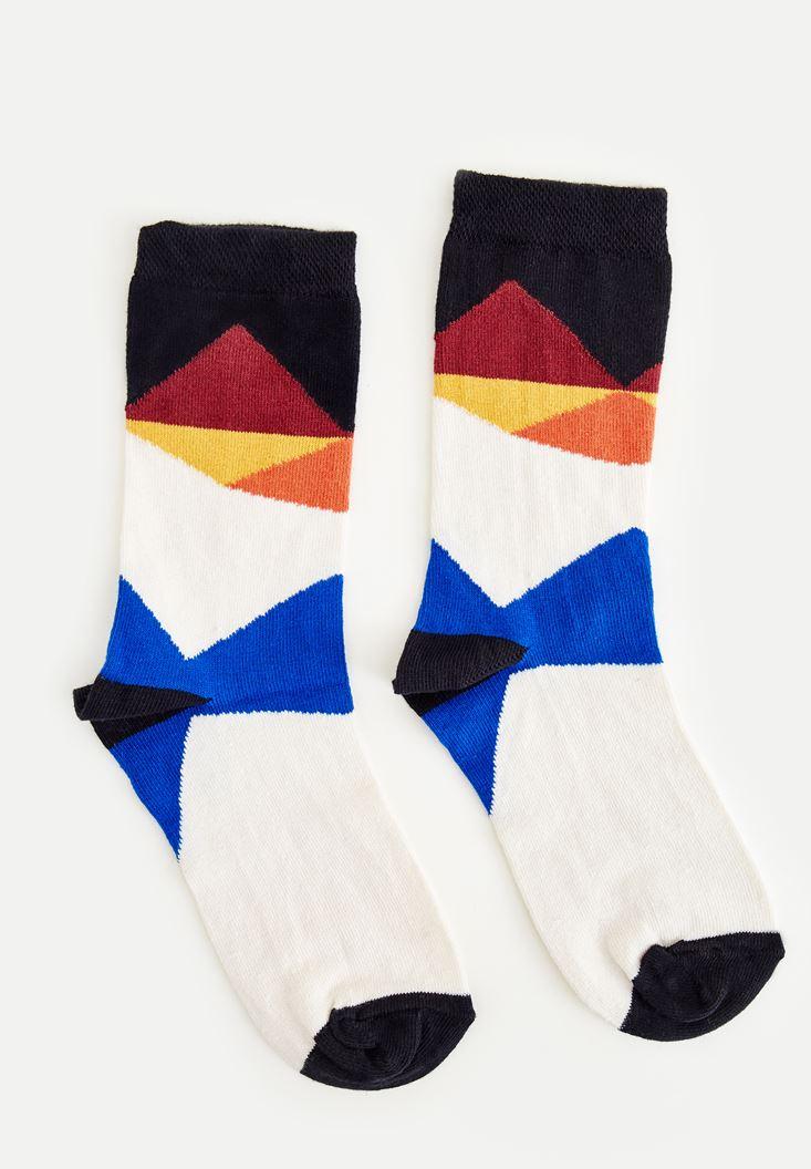 Bayan Yeşil Blok Renkli Çorap